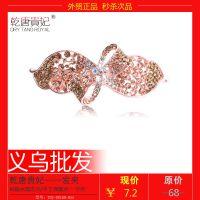 韩版水钻发夹女压发顶夹花朵发饰品画油弹簧发卡义10元饰品店货源