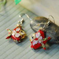 热带鱼景泰蓝耳环 中国风民族原创精美饰品 防过敏耳饰 特价