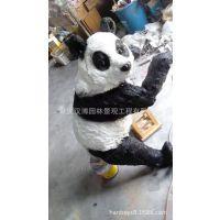 厂家现货供应 玻璃钢树脂纤维熊猫雕塑 仿真写实动物大熊猫模型