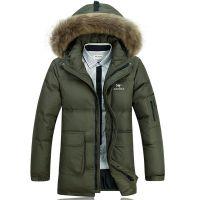 2014冬季男式羽绒服 中长款连帽加厚保暖外套品牌羽绒服厂家批发