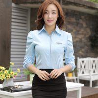 实拍 新款通勤韩版衬衫泡泡袖职业女装长衬衫女长袖女衬衣