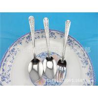 不锈钢勺子 特厚带磁花边 扑克尖勺餐叉  迷你型餐勺 厂家直销