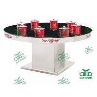 现代时尚大理石火锅桌电磁炉火锅桌质量优先 运达来厂家直销