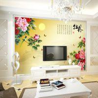 3d墙纸 电视沙发背景壁画现代中式文化设计典雅 国画牡丹花鸟壁纸