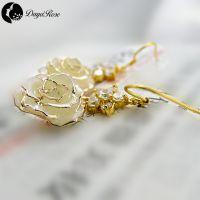 黛雅DAYA ROSE 精品时尚畅销镀金玫瑰耳环 女式天然玫瑰花制作