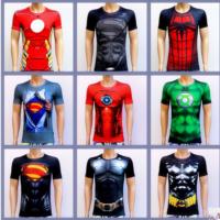 新款超级英雄紧身衣 超人蜘蛛侠蝙蝠侠复仇者联盟速干T恤