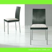 佛山家具厂家 现代家具餐椅 贴木皮板式椅子 餐厅酒吧软座椅子