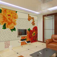 无缝吉祥牡丹电视沙发床头背景墙大型3D壁画厂家直销大气中式