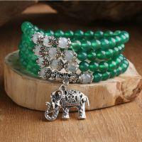 原创天然水晶绿玛瑙手链 白玛瑙藏银小象佛珠手链
