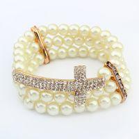厂家直销新品欧美时尚流行十字架珍珠弹性手链(白色+香槟金)