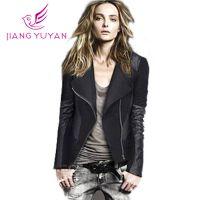 速卖通女装外套韩版时尚修身显瘦机车夹克短款肩章Pu皮衣批发加盟