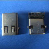 USB3.1TYPE-C L=12长母座——针24Pin前插后贴-固定脚前贴后插
