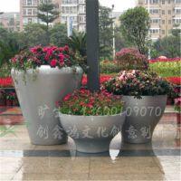 广场景观玻璃钢花盆 圆形组合市政种植花盆 商业美陈花盆摆件