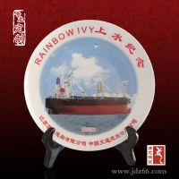 纪念盘定制,陶瓷纪念盘加字加logo唐龙陶瓷