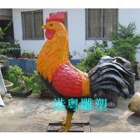 公园大公鸡雕塑玻璃钢公鸡模型制作工厂