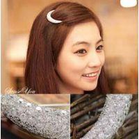 韩版精致发饰 镶钻月亮发夹 一字夹 Ebay速卖通货源 ALQF20140143