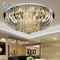 出彩欧式圆形金色客厅灯钻石水晶餐厅灯LED卧室吸顶灯豪华大气灯具9913