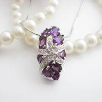 供应精品宝石首饰 海王星 天然紫水晶宝石 戒指 首饰s925银