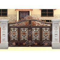 欧雅斯高档别墅欧式庭院铝艺整套门、铝合金防盗庭院门电动平移门