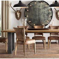 美式复古餐桌会议桌办公桌实木书桌做旧铁艺工作台大班桌长方形桌
