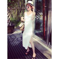 小银子2015夏装新款欧美街拍侧开叉雪纺吊带连衣裙女长裙Q5125
