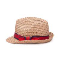 勇发服饰 新款蝴蝶结折边女士沙滩遮阳定型草帽订做 外贸出口