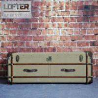 欧式复古双抽床头柜工业风帆布木条边柜Richard旅行者系列收纳柜