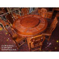 非洲花梨木雕花边圆台餐桌配象头餐椅 茶桌 大信杉江可定制