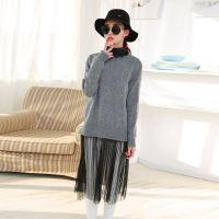 2015春装新款纱纱蕾丝拼接休闲大码假两件毛衣针织衫
