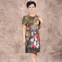 中老年连衣裙 短袖中年连衣裙大码妈妈装韩版修身碎花裙 中长款夏