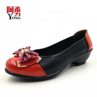 阿勇2015春款中老年妈妈单鞋蝴蝶亮片水钻浅口糖果色中跟女式皮鞋
