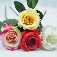 厂家直销 仿真单支玫瑰花 人造花秉花 假花塑料花批发 情人节礼物