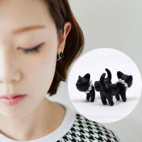 韩国热卖 原宿立体小豹子耳钉 猫咪穿刺耳钉耳饰 男女款