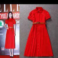 唐嫣同款 高雅泡泡袖长款修身红色连衣裙 夏季女装 代发 Y81102