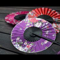 夏日360度折扇 圆形头青竹风车扇 女士扇子 缎面团扇 工艺扇子