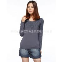 厂家批发 地摊衣服货源 特价时尚女装长袖修身女式T恤 打底衫女