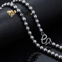 B003#S925银电镀铂金圆珠项链 佛珠银链 纯银饰品首饰 时尚韩版