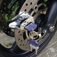 台湾双子星摩托车锁双锁芯碟刹锁碟锁抗液压剪防盗锁D107 D106