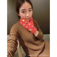 秋冬季手套韩国东大门代购进口可爱小熊米妮黛西纯兔毛连指手套女