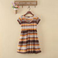 工厂出口欧美尾货批发夏季甜美圆领高腰短袖女士连衣裙F481A