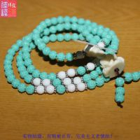 天然绿松石108颗佛珠手链 天然水晶饰品 手饰批发 6MM