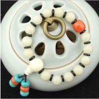 原创天然藏式白菩提根手串 仿蜜蜡配椰壳绿松石手链饰品圆珠批发