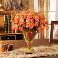 欧式手绘仿古树脂花瓶 经典创意工艺品台面花瓶装饰摆件