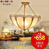 全铜半吊半吸顶餐厅灯具 温馨简欧式圆形磨花玻璃书房卧室灯直销