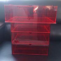 高档红色抽屉式有机玻璃收纳箱     亚克力化妆品/生活用品储物箱