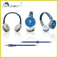 来样加工 镶皮头戴耳机 有线头戴耳机 带麦克风头戴耳机