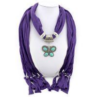 天然绿松石吊坠围巾 时尚潮流大蝴蝶饰品项链围巾 款式多样可混批