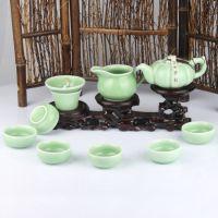 厂家批发直销 特价功夫青陶瓷茶具套装 整套汝窑 茶海茶壶 翡翠