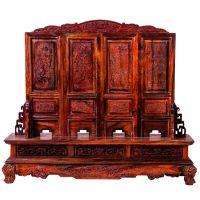 盛伟工艺 老挝大红酸枝迷你型屏风 高档仿古式红木桌面装饰摆件