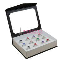 批发 翻盖12位戒指耳钉耳环包装盒 戒指盒 耳钉盒 首饰盒 饰品盒